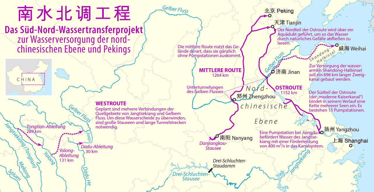 Routes of the South–North Water Transfer Project