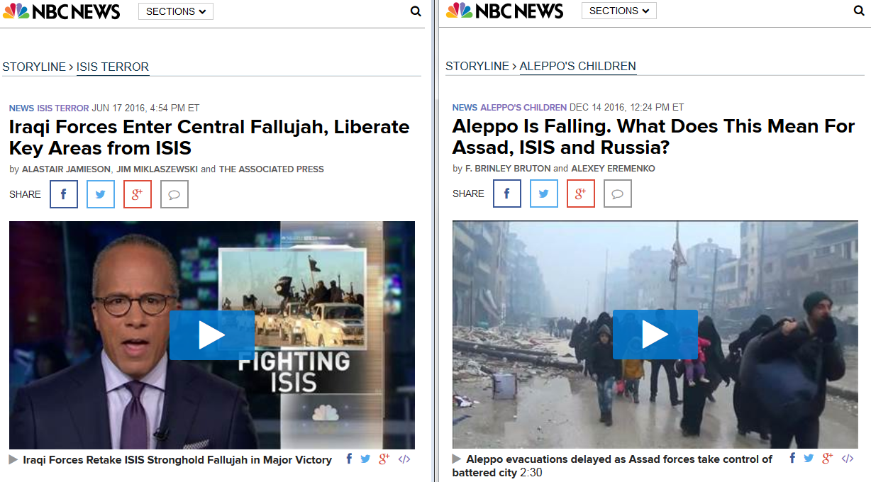 "When a US-backed government like Iraq retakes a city, NBC (6/17/16) celebrates the victory over ""ISIS terror""; when an enemy state, Syria, recaptures a city, the militant group it defeated–Al Qaeda–isn't even mentioned by NBC (12/14/16)."