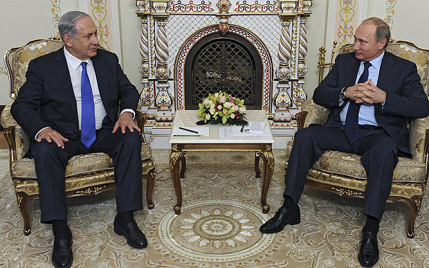 Israeli Prime Minister Benjamin Netanyahu meeting with Russian President Vladimir Putin in Moscow on Sept. 21, 2015.