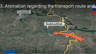 Screen shot from the Joint Investigation Team's video report citing where a Russian Buk missile battery allegedly crossed into eastern Ukraine