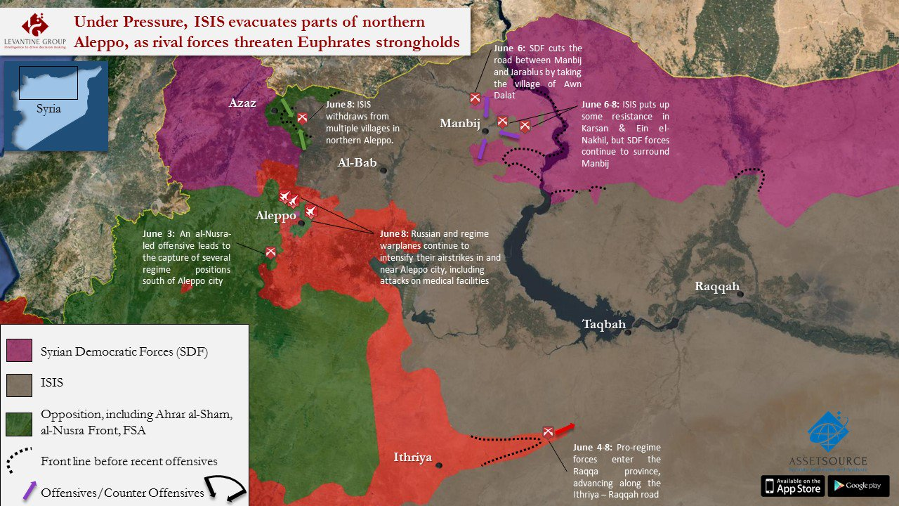 Note: the map slightly underestimates ISIS territorial loses in all three sectors