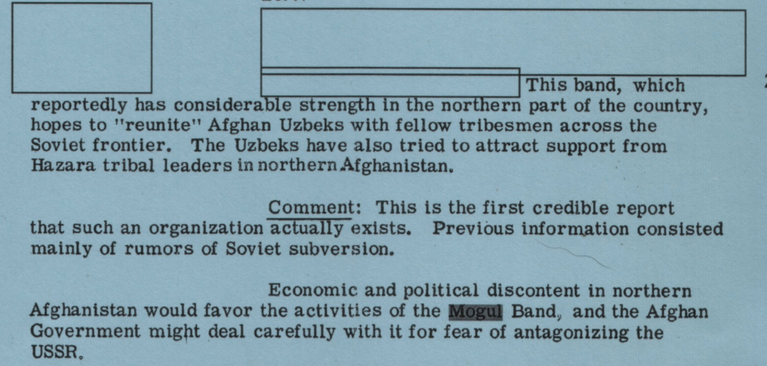 The CIA first redacted the name of its Afghan Uzbek tribal guerrilla force targeting the USSR, the Mogul Band, and then named it