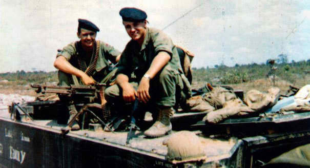 Hagel (right) in Vietnam with his younger brother