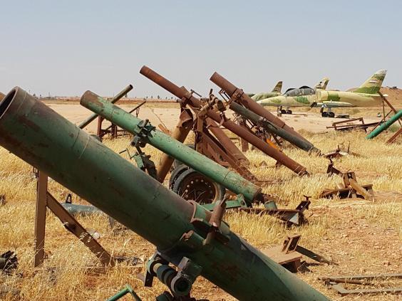 Captured homemade ISIS mortar on the Syrian airbase at Koyeress