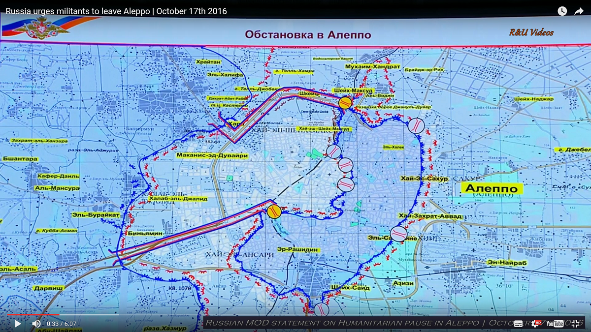 Russian map of the corridors. White for civilians, yellow for fighters