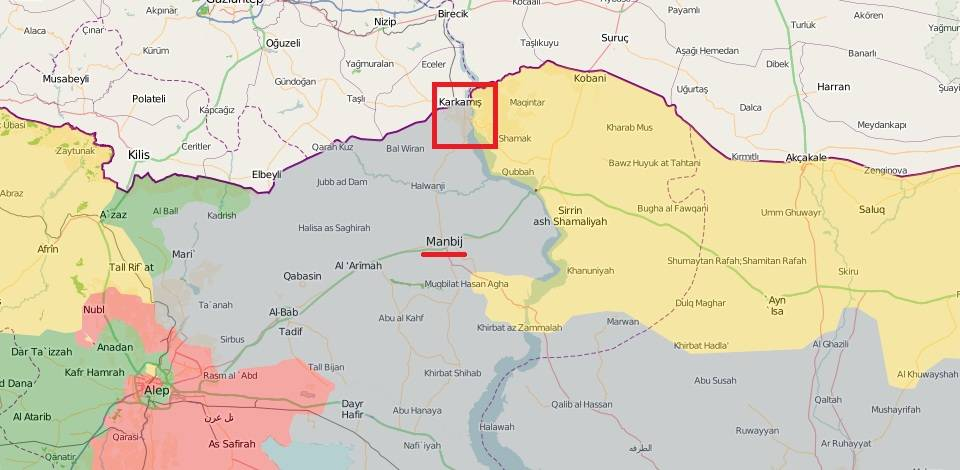 The remaining Syrian-Turkish border in ISIS hands. Jarabulus area marked with red square
