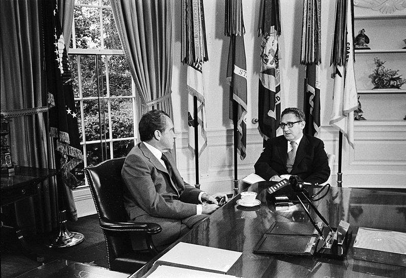 U.S. President Richard Nixon (left) and Henry Kissinger, National Security Adviser and Secretary of State, at the White House.