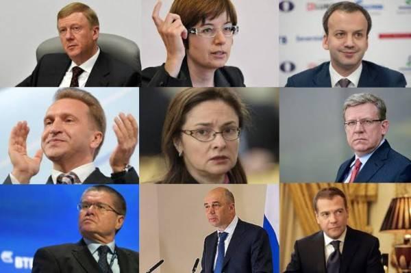 The Russian 5th column: Chubais, Iudaeva, Dvorkovich, Shuvalov, Nabiullina, Kudrin, Uliukaev, Siluanov, Medvedev