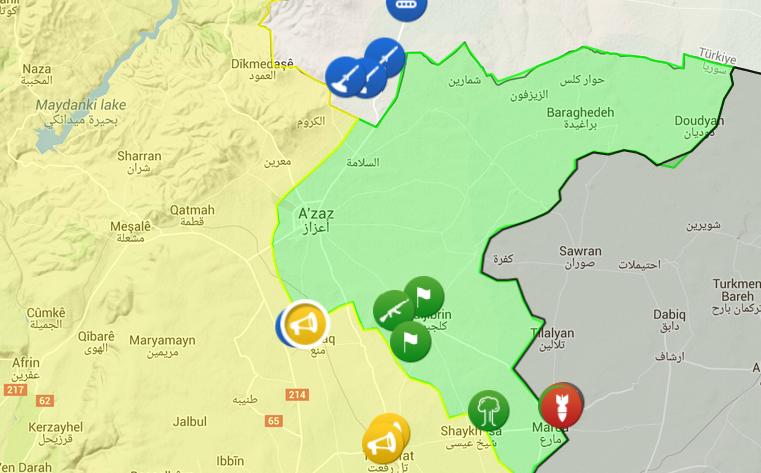 "The green represents terrirtory held by the ""moderates\"". The Kurds (yellow) have made huge gains in the last week, while SAA forces are creeping up from the south"