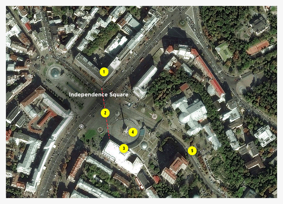 1. Trade Unions Building. 2. The barricades as of February 20. 3. Bubenchyk's position. 4. Where the police forces were located. 5. Where the activists were shot on Instytutska Street