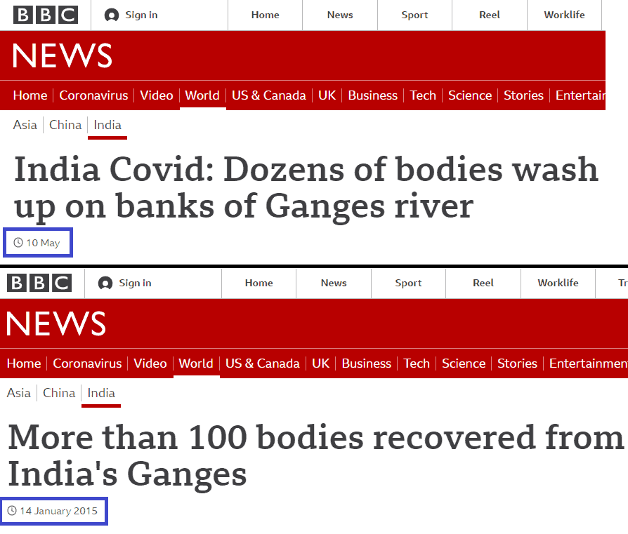 An example of the BBC's coverage of Covid-19 deaths in India.