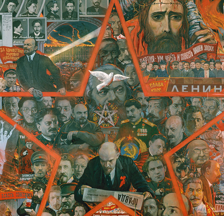 A detail from the monumental painting 'The Great Experiment' (1990) by Ilya Glazunov, which has many references to the Jewish role in the Russian Revolution