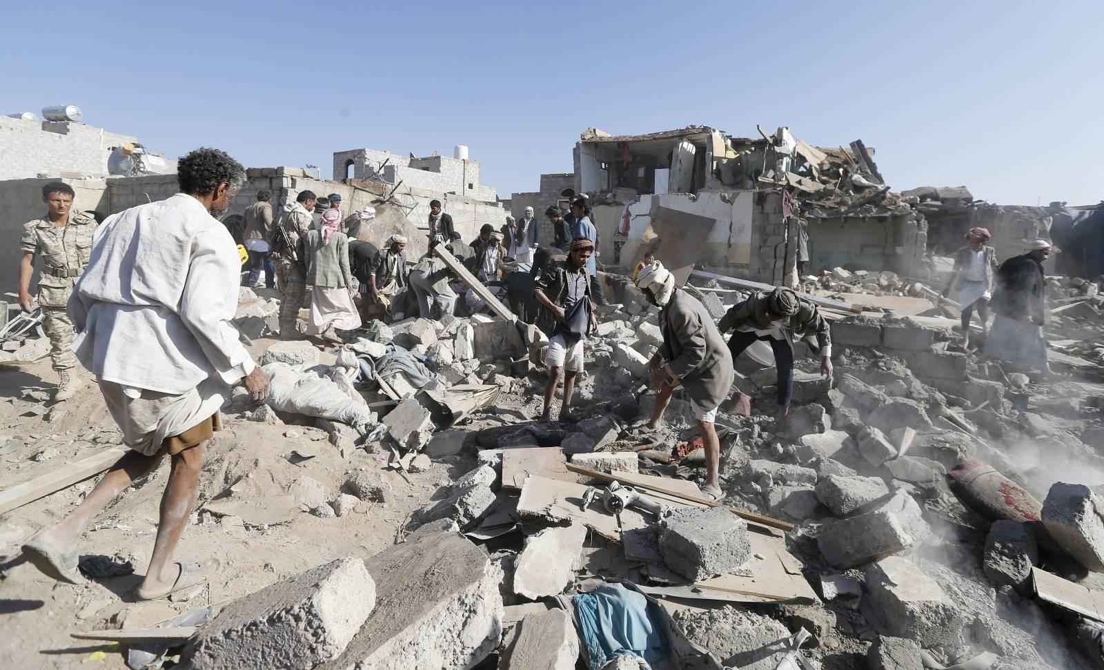 Afermath of a Saudi strike in Yemen