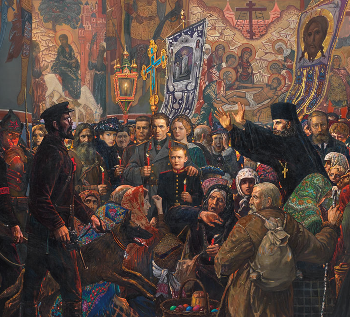 A Jewish bolshevik disrupting an Easter midnight service. Detail from a larger monumental painting by Ilya Glazunov