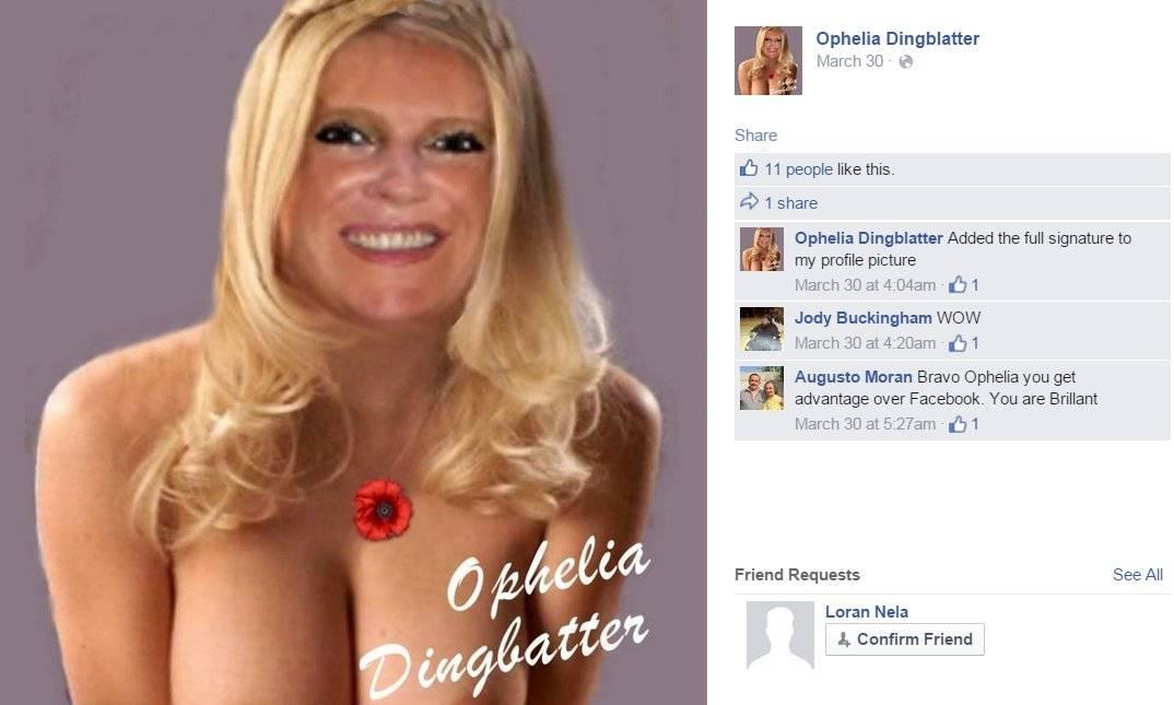 The Ophelia Dingblatter Facebook profile