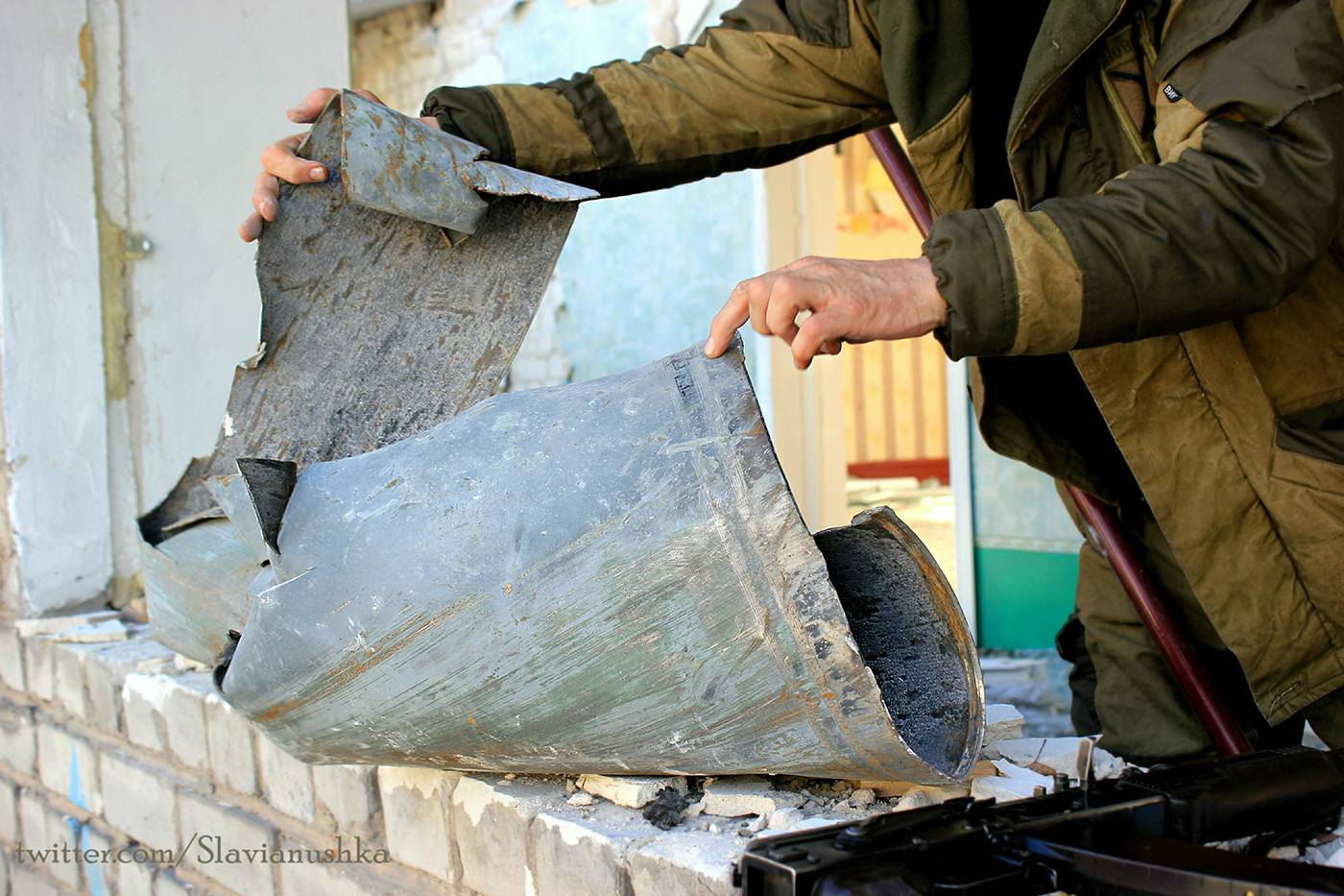 We found quite a large shell fragment, resembling a crumpled aluminium pail, inside the building, but the distinct marking number it bore proved that it was part of an Uragan missile