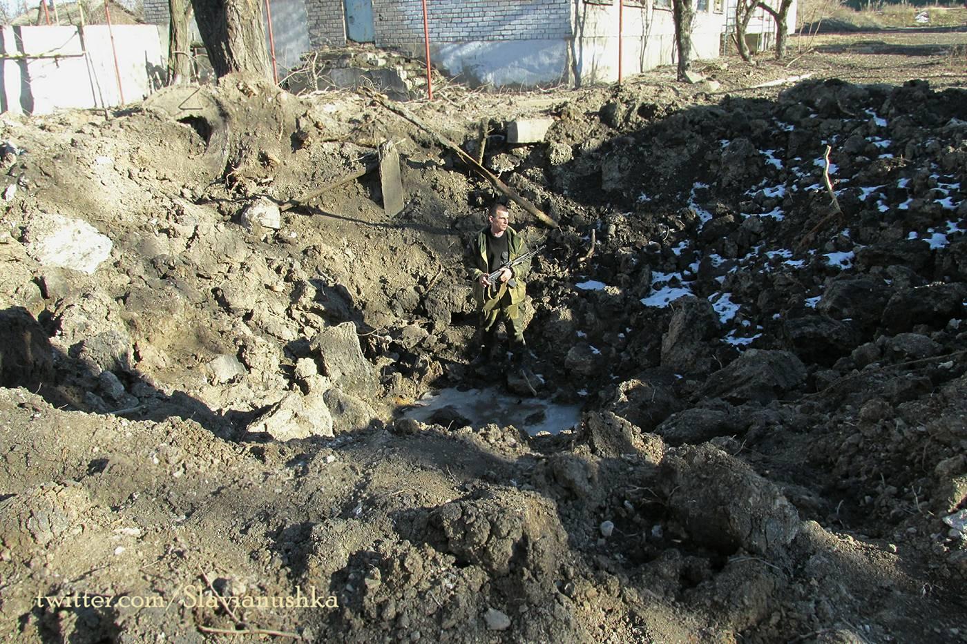 "Craters left by ""Uragan"" missile near Zorinsk school"