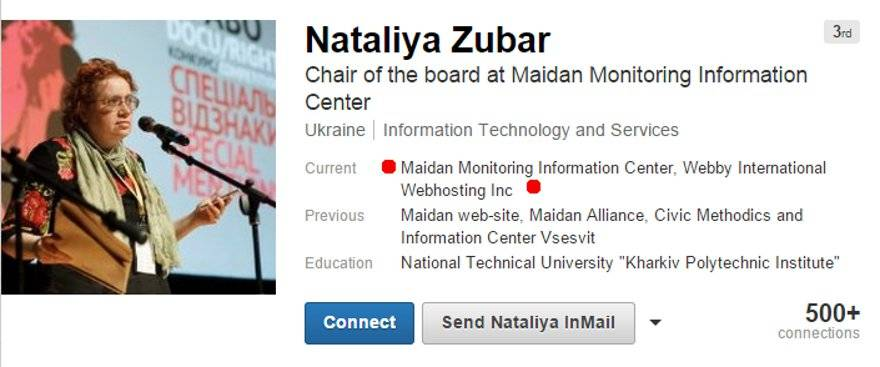 Nataliya Zubar of Webby Web Hosting and Maidan Monitoring Information Center
