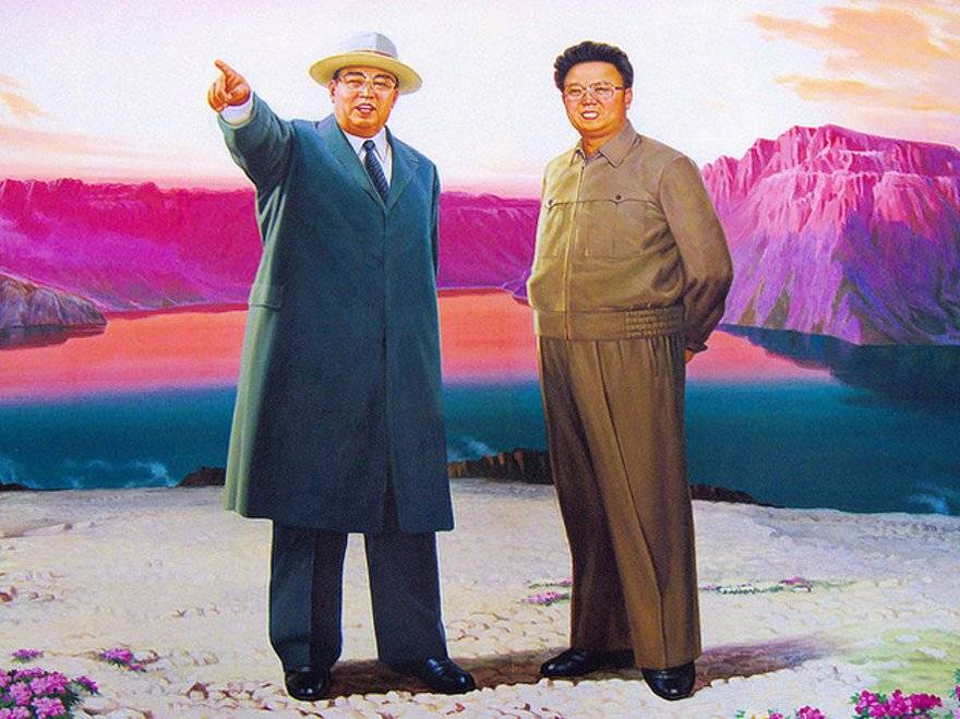 Wall paintings like this, recreations of a picture Kim Il Sung and Kim Jong Il (yeowatzup)