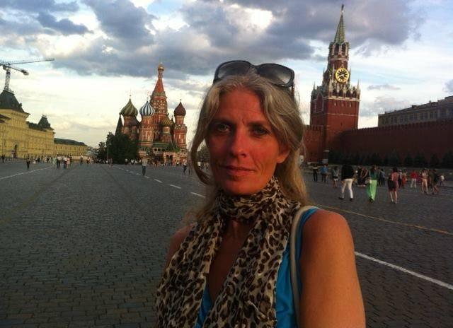 Frau Thranholm während einer Russland-Reise