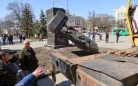 A pro-Ukrainian group claimed responsibility for the vandalism