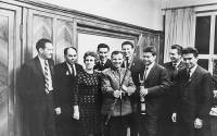 The first man in space Yuri Gagarin with Boris (to his right) and Valentina Pankin