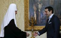 Greek Prime Minister Alexis Tsipras meets with Patriarch of Moscow and All Russia Kirill in Moscow Apr. 9. | Photo: Sergei Karpukhin, Reuters