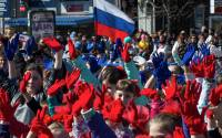'Crimean Spring' rally in Simferopol March 2015 marking one year of decision to secede from Ukraine