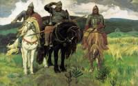 """Viktor Vasnetsov's """"Three Bogatyrs."""" 1898. State Tretyakov Gallery, Moscow"""
