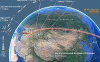 Ground track and launch profile for Progress M-27M mission on April 28, 2015.