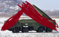 """A Russian Iskander system hiding under a tent in """"Eastern Europe"""""""