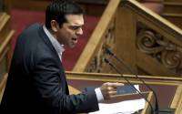 Greek Prime Minister Alexis Tsipras delivers a speech during a plenary session of the Parliament in Athens, Greece, 30 March 2015   Photo: EPA/NGNE
