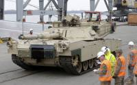 An Abrams main battle tank, for US troops deployed in the Baltics as part of NATO's Operation Atlantic Resolve, leaves Riga port March 9, 2015 | Ints Kalnins, Reuters