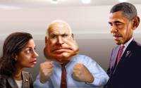 Neocon criminal Susan Rice with fellow imperialists McCain and Obama, as seen by artist DonkeyHotey, via flickr.