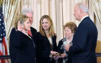 At Hillary Rodham Clinton's swearing in as U.S. Secretary of State in January 2009