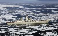 """Kirov-class battle-cruiser Piotr Velikii (""""Peter the Great""""), flagship of the Russian Northern Fleet, on maneuvers in the Arctic Ocean"""