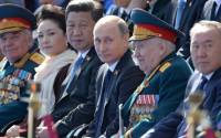 Xi , Putin and Nazarbaev together on Vday