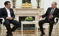 Russian President Vladimir Putin meets Greek Prime Minister Alexis Tsipras at the Kremlin on April 8