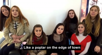 Young Russian Women in Train Station Sing Beautiful Ancient Folk Song About Love (Video)