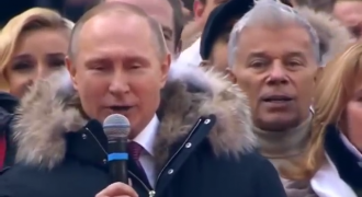 Goosebumps: Watch Putin Lead a Full Stadium in a Rousing Sing of the Russian National Anthem (English Lyrics)