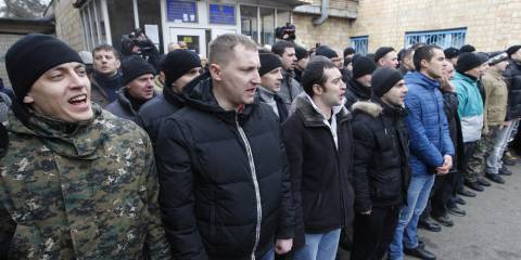 Ukrainian Drafters before being sent to war