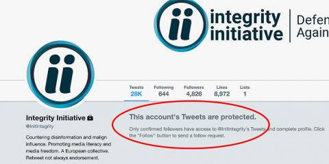 Walk of Shame: Exposed UK-Funded Psy-Op 'Integrity Initiative' Wipes Website Clean, Locks Twitter Account
