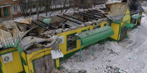Bus stop after shelling