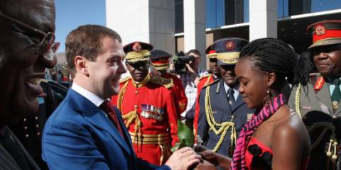 Russian President Dmitry Medvedev during a welcome ceremony in front of the State House in Namibia's Windhoek in June, 2009 | Photo: RIA Novosti