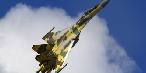 A modernized Su-35Ѕ performing at the MAKS Airshow in 2009. This aircraft features thrust-vectoring technology, similar to the Su-37