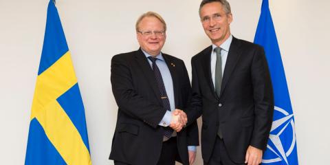 Swedish Defence Minister Peter Hultqvist and NATO Secretary General Jens Stoltenberg (Nov. 2014) (Source: NATO)
