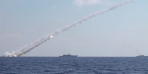 Six Kalibr cruise missiles targeted ISIS command centers and weapon depots