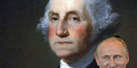 A famous portrait of Washington and Putin at the Continental Congress