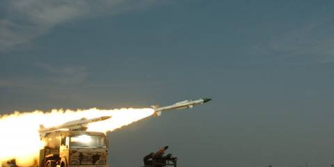 Akash missile being test fired