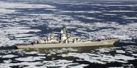 "Kirov-class battle-cruiser Piotr Velikii (""Peter the Great""), flagship of the Russian Northern Fleet, on maneuvers in the Arctic Ocean"